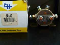 You are buying one Cole Hersee 24402 Solenoid. The Continuous Duty Solenoid is 24 volts with a plated steel house and SPDT Circuitry with copper contacts. This item comes as seen in the pictures.
