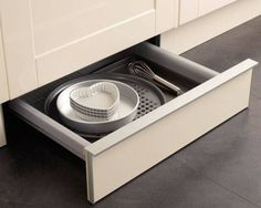 If your kitchen is small or you like to keep things quick & easy to access, these clever kitchen storage solutions could be what you've been looking for. Clever Kitchen Storage, Kitchen Storage Solutions, Kitchen Drawers, Beautiful Homes, House Beautiful, Storage Drawers, Dog Bowls, Kitchen Appliances, Kitchens