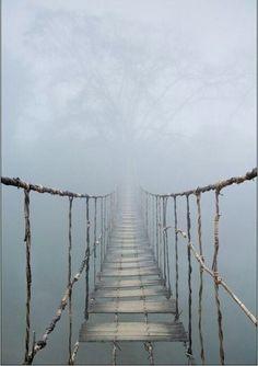 Rope bridge in Vietnam. HECK NO
