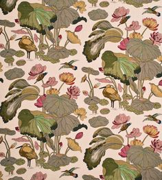 Nympheus Linen Fabric by GP & J Baker | {every trendy sofa has one! floral wading bird hummingbird