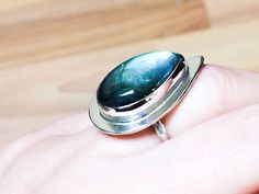Pear Shaped Large Labradorite Ring Size 7 Ring by HotTorStudio