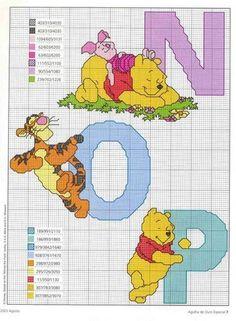 Winnie the Pooh ABC series Cross Stitch Letters, Cross Stitch For Kids, Cross Stitch Boards, Cross Stitch Baby, Disney Stitch, Pixel Crochet, Crochet Cross, Cross Stitching, Cross Stitch Embroidery