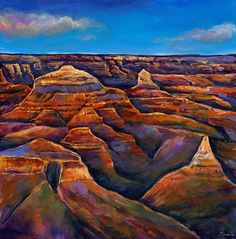 A desert landscape of the Grand Canyon in Arizona. Contemporary southwest desert landscape painting on canvas. Fine art prints available on canvas and paper. Canvas Painting Landscape, Landscape Art, Desert Landscape, Acrylic Paintings, Contemporary Landscape, Mountain Landscape, Oil Paintings, Original Paintings, Utah