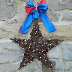 Red White and Blue Wreath - Patriotic Wreath - Star Wreath - Memorial Day Wreath - July 4th Wreath. $49.00, via Etsy.