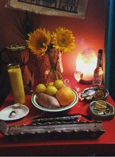 Oshun Altar (I would use 5 sunflowers though)