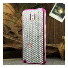Aluminium Metal Bumper and Carbon fiber Protective back Case For Samsung Galaxy Note 3 N9000 - Rose red/Silver US$25.99