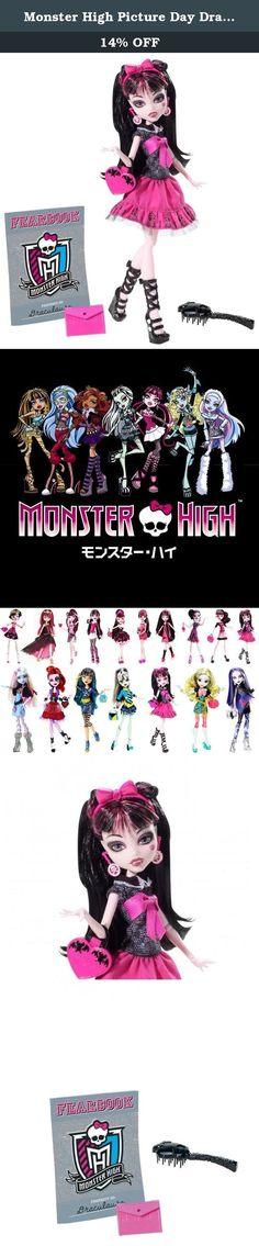 Monster High Picture Day Draculaura Doll. Monster Picture Day Draculaura Doll: The ghouls of Monster High are glamming it up for picture day with freaky fabulous looks! Armed with their Fearbook journals and picture day stickers, they can swap, trade and store the photographic memories. Each doll sports a fiercely fashionable new outfit incorporating details that celebrate her unique personality and style. Draculaura doll looks to die for in her signature pink and black with a…