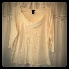 Ann Taylor dressy top Ann Taylor simple dressy off white shirt. Size large. Front has sheer draped detail. 3/4 sleeve Ann Taylor Tops Tees - Long Sleeve