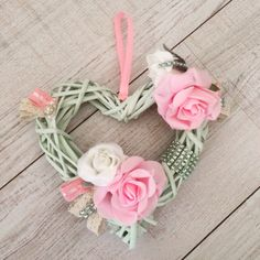 Heart wreath with roses , rhinestones and lace