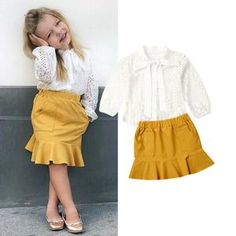US Fashion Toddler Baby Girl Lace Floral Tops Shirt+Skirt Dress Clothes Set Baby & Toddler Clothing, Toddler Fashion, Kids Fashion, Kids Clothing, Girls Summer Outfits, Girl Outfits, Girl Sleeves, Kids Girls, Baby Girls