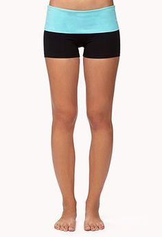 596e48a2109db Contrast Foldover Yoga Shorts Yoga Sequences, Yoga Poses, Cute Workout  Outfits, Yoga Fitness