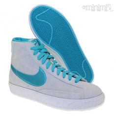 Photo Nike blazer mid vintage - baskets enfant GS - Grise et turquoise #Vans #Kids #Swag #Sneakers #Fashion #myminimi