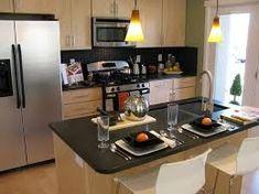 Resultado de imagen para cocina casas modernas #casasmodernascocinas High Back Bar Stools, Beautiful Kitchens, Dream Kitchens, Interior Design Kitchen, Dining Area, Modern Architecture, Kitchen Appliances, Room, Ideas