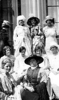 "Lark Day, Owensmouth Women's Club, April 1930. Women pictured in costume. ""Owensmouth Women's Club gathered for the annual Lark Day celebration... Costumes from all lands and from all stations in life were the cause for much admiration and merriment."" San Fernando Valley History Digital Library."