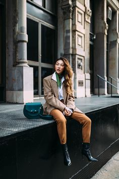 How to add color to your winter wardrobe - Green neck scarf with plaid blazer // Notjessfashion.com