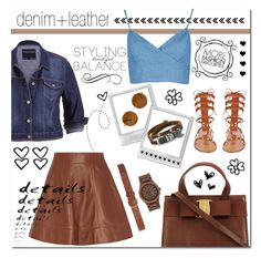 """denim + leather"" by monacoburkinsky ❤ liked on Polyvore featuring Valentino, Forever 21, Dorothy Perkins, WeWood, BillyTheTree, maurices, Michael Kors, women's clothing, women and female"