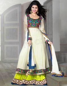 #Designer Anarkali #Cream #Indian Wear #Desi Fashion #Natasha Couture #Indian Ethnic Wear # Salwar Kameez #Indian Suit