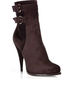 Brown Suede Buckled Boots-Givenchy