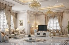 Dining & living room design for a private palace at Doha, Qatar Mansion Interior, Luxury Homes Interior, Home Interior Design, Elegant Living Room, Elegant Home Decor, Luxury Dining Room, Luxury Living, Dream Home Design, House Design