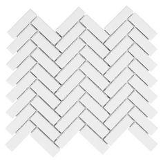 White Herringbone Porcelain Mosaic - 11 x 12 - 100230804   Floor and Decor #TileEffectLaminateFlooring White Herringbone Tile, Herringbone Backsplash, White Tiles, Herringbone Fireplace, Ceramic Wall Tiles, Porcelain Tile, White Porcelain, Mosaic Wall, Marble Mosaic