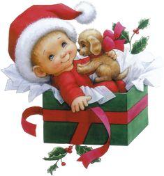 enfant avec son chien dans une boîte à Noël 18