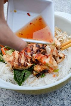 Chicken vermicelli asian over