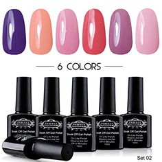 Perfect Summer Colors Gel Nail Polish 10ml Soak Off Lacquers UV LED Perfect Match French Manicure Starter Gift Kit (6 x 10ml Set #02)