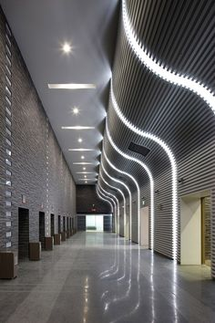 Seoul Memorial Park by HAEAHN Architecture. Image via Bustler by re-Design, via… Contemporary Architecture, Architecture Details, Interior Architecture, Contemporary Art, Ceiling Design, Wall Design, Interior Lighting, Lighting Design, Hotel Corridor