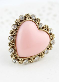 Pink Heart Gold Crystal Flower Ring