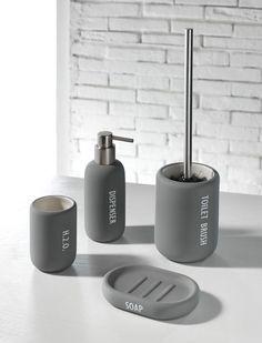 TFT Home Furniture | CE1010RU-GREY | Set ceramic bath accessories (ceramics with rubber effect)