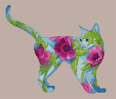 Counted Cross Stitch Blue Cat with Pink Poppies by Myrea Pettit. Lena Lawson Needle Arts has fabulous cross stitch charts for sale.