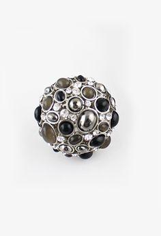 Anillo plateado cristales piedra negro EUR€5.07
