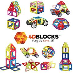 Toy Stacking Block Sets - Play it Love it Magnetic Building Block Set 40 Pieces Promotes Creativity Imagination Brain Development The Best Combination Of Recreation Education For Children -- Details can be found by clicking on the image. Building Block Games, Magnetic Building Blocks, Building Toys, Education And Development, Spring Is Here, Toys Shop, Creative Thinking, Love, Kids And Parenting