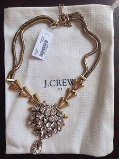 NWT J crew necklace brass and crystal pendant necklace with jcrew dust bag #JCrew #Pendant