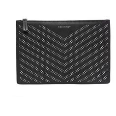 Mackage Mackage | Port-St Large Studded Leather Pouch in Black (£92) ❤ liked on Polyvore featuring bags, handbags, clutches, leather purses, mackage, pouch handbags, leather pouch purse and leather clutches