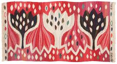 """Weaving """"Röd Crocus"""" 33 x 61,5 cm. Signed AB MMF AML (Märta Måås-Fjetterström, Ann-Mari Lindbom.)  Design from 1945"""