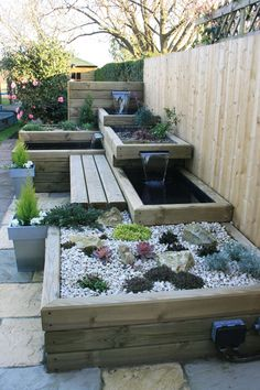 Water features in the garden, Garden seating, Small garden design, Small patio decor, Garden landsca
