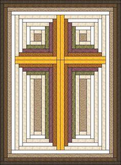 I designed this Christian Cross Quilt from Log Cabin Blocks, which are easy to make even for beginner quilters.    The beautiful pastel colors