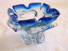 Vintage MURANO ART GLASS Clear W/ Blue Rim Cigarette Ashtray