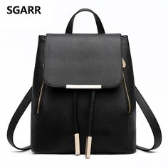 SGARR Women Backpacks Solid Fashion School Bag For Teenage Girls High  Quality PU Leather Vintage Waterproof 16212a1ca5991