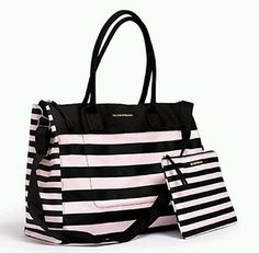 Victorias Secret Getaway Weekender Tote Bag Pink & Black Striped 2pc Victoria's