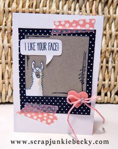 I can't get over the funny sentiments and images in the From the Herd and Cheerful Critters stamp sets! ~Becky Cowley