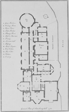 Ground Plan of Strawberry Hill (1748-1777 CE) England - an example of Gothic Picturesque