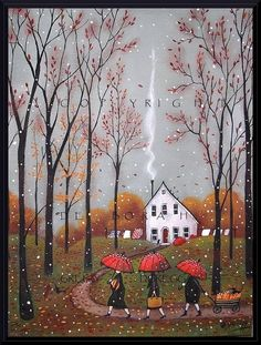 Pumpkins For Pie, a small Autumn Pumpkin Fall Leaves Red Umbrella PRINT by Deborah Gregg.Deborah Gregg Oh what an earthy day! The skies are a pewter grey accented by falling leaves and a few wet snowflakes. Autumn Art, Autumn Leaves, Graffiti Kunst, Gregg, Art Fantaisiste, Red Umbrella, Small Umbrella, Illustration Art, Illustrations