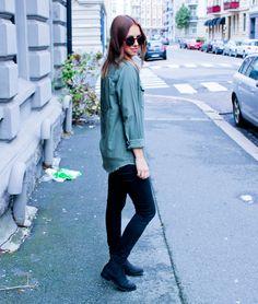 Street Style, Oslo, Norway, Fashion, Shirt, Army green, girl