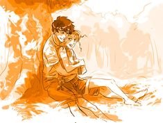 Here is the announced Percabeth sketch ;p I love those two characters very much. I need to draw a proper Annabeth picture one day too !