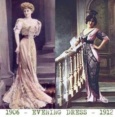 Dress-1905-compared-to-1912. Evening dresses in the Edwardian era were flamboyant and provocative, with low cut bodices allowing an overt display of jewelry and bosom! Evening frou-frou in the 1900s meant luxurious sensual  fabric . By 1910 women were growing tired of bulky evening dress, and in particular, French women began to remove the trains from their dresses and embrace the new Empire lines, especially Poiret's Ballet Russes inspired creations.