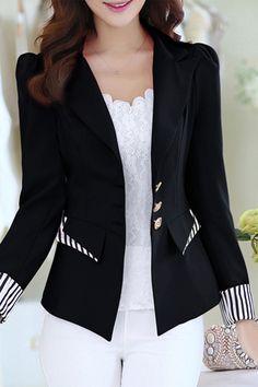 Color Block Notched Lapel Contrast Trim Casual Women's Blazer