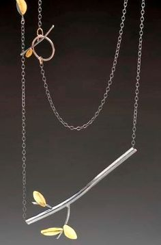 Twig necklace by Paulette Werger, sterling silver and 18k gold.