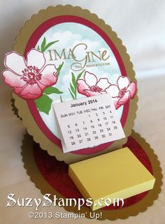 Stampin' Up! Cards - 2013-12 Class, Fabulous Florets Desktop Calendar and Post-It-Note Holder (Easel Card)